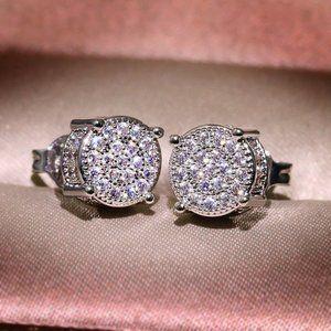 18K White Gold Diamond All Around Stud Earrings